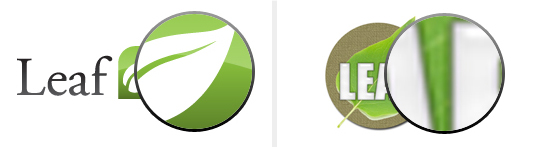 "Both leaf logos magnified 500%, notice how the ""Good Logo"" (left) is still crisp while the ""Bad Logo"" (right) has become ""pixellated"" or grainy"