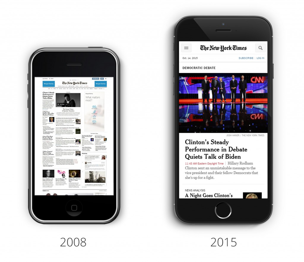 Difference in how websites were displayed in 2008 and now