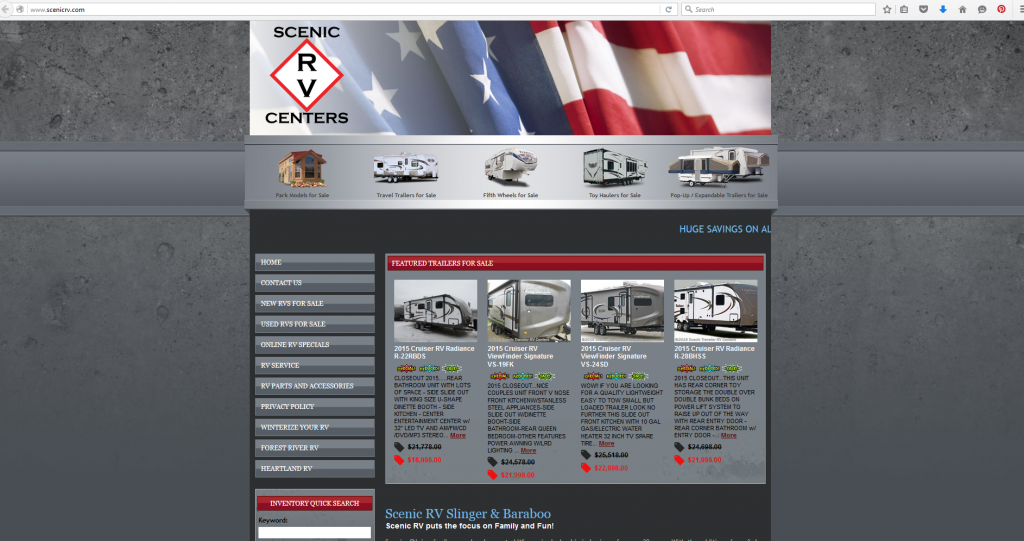 Scenic RV Centers Site Screenshot