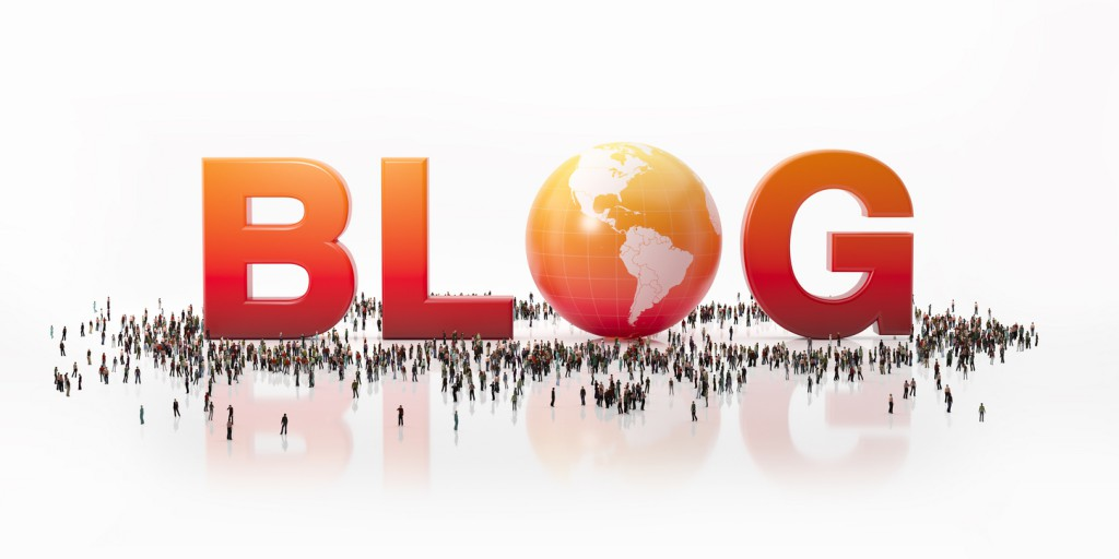 Blogging Concept: Blog Text Surrounded By Big Human Crowd
