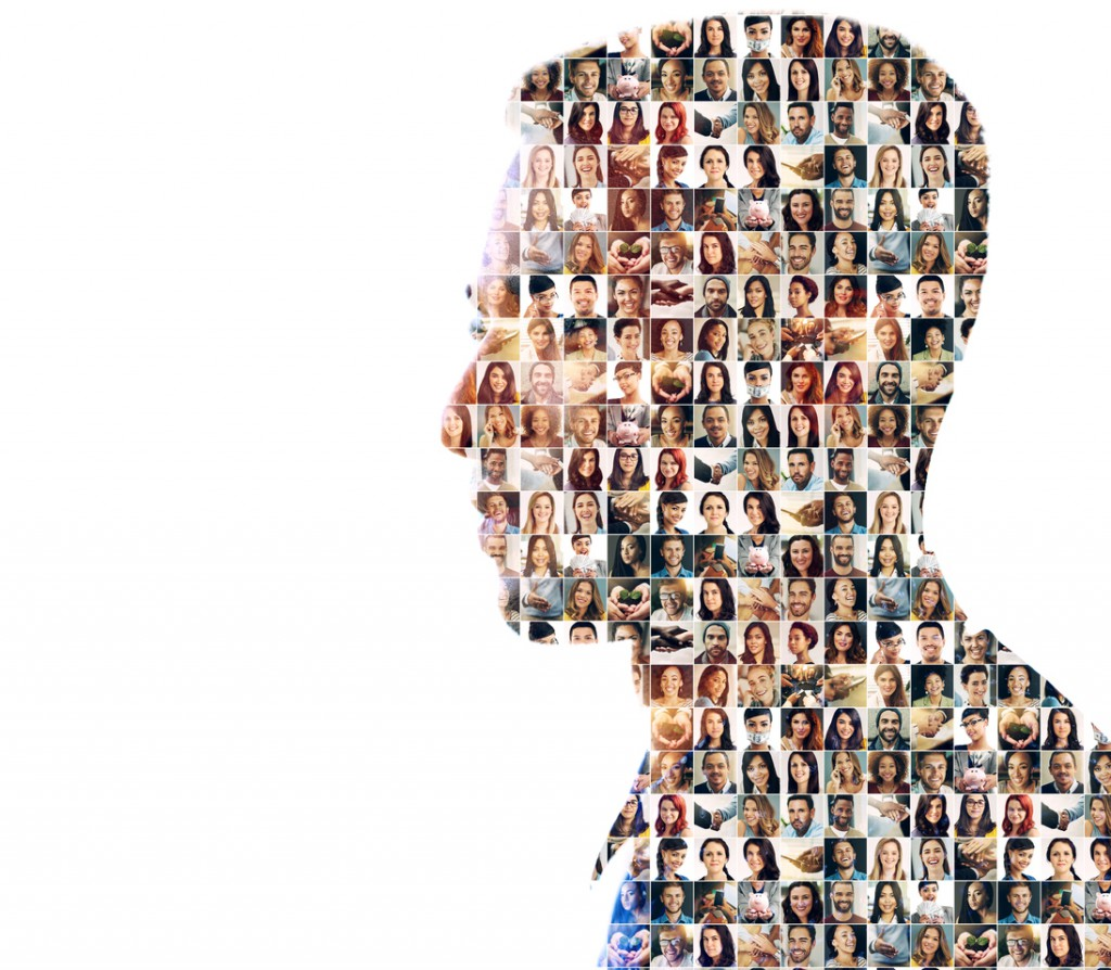 Composite image of a diverse group of people superimposed on a man's profile