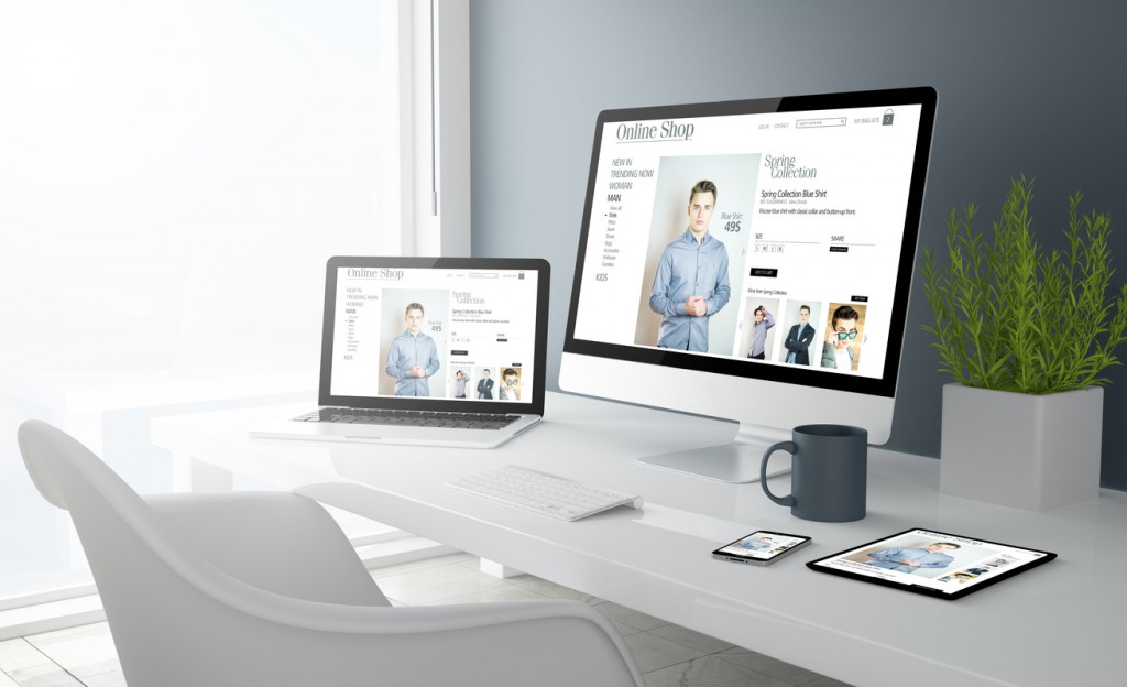 grey studio devices with fashion online shop website