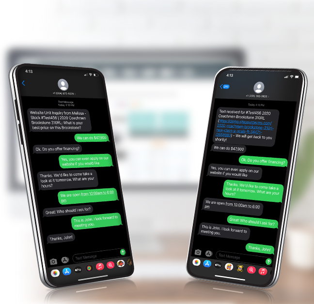 Customer Contact - two smartphones with messages on the screen