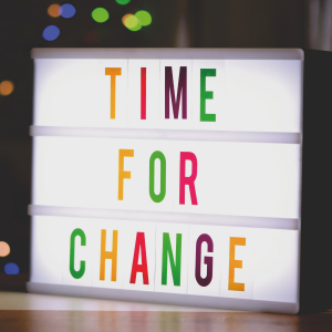 Time for change on light board in bright colors